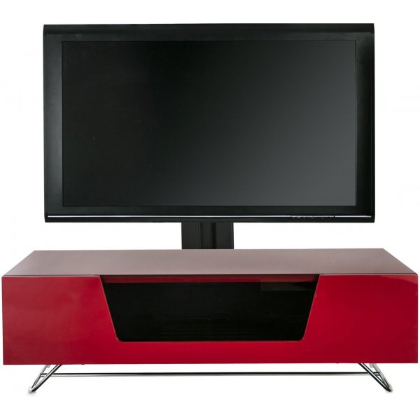 "Alphason Chromium 1200 Red Cantilever TV Stand for up to 50"" TVs"