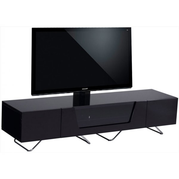 """Alphason Chromium 1600 Black Cantilever TV Stand for up to 50\"""" TVs"""