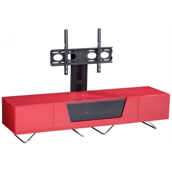 """Alphason Chromium 1600 Red Cantilever TV Stand for up to 50\"""" TVs"""