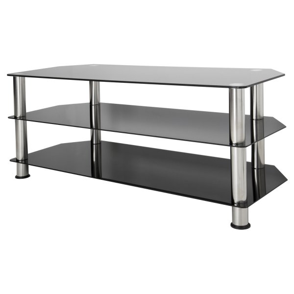 "AVF Universal Black Glass and Chrome Legs TV Stand For up to 55"" TVs"