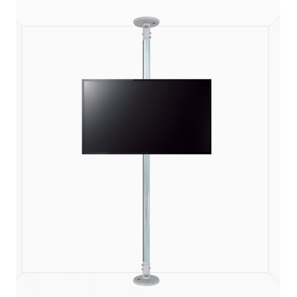 """B-Tech Floor to Ceiling Mount for up to 80\"""" TVs - 4m Pole - Chrome"""
