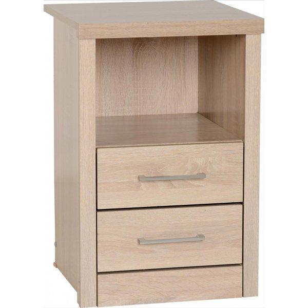 ValuFurniture Lisbon 2 Drawer Bedside Cabinet - Light oak