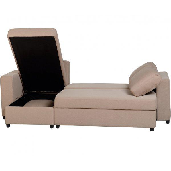 Valufurniture 300 308 016 Dora Fabric Corner Sofa Bed Light Brown