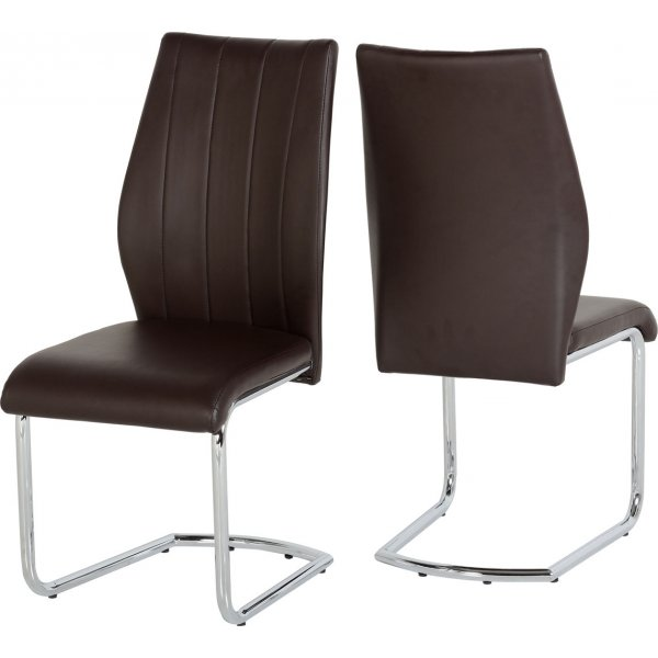 ValuFurniture Milan PU Leather Dining Chairs (Pack of 2) - Brown
