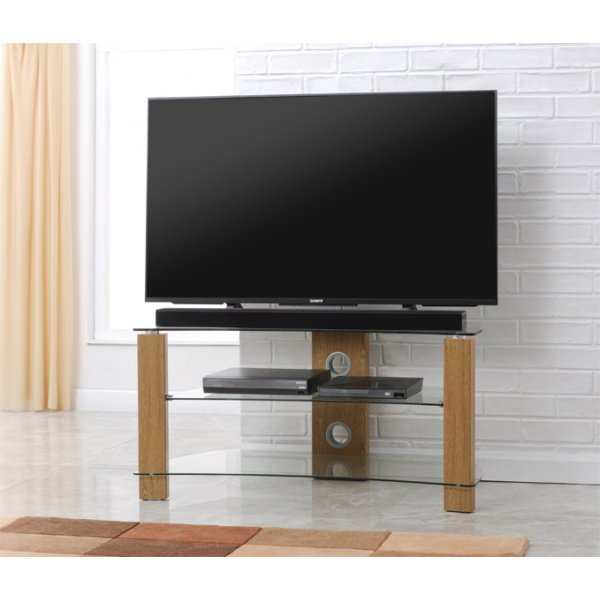 TNW Vision Curve 1000 Light Oak finish and Clear Glass TV Stand