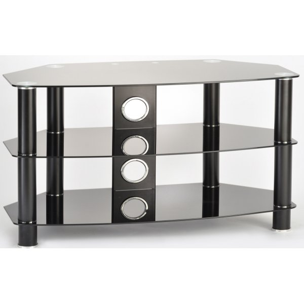 TTAP Vantage 600 Black Glass TV Stand For Up To 26""
