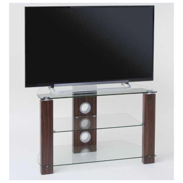 TNW Vision 1050 Walnut and Clear Glass TV Stand