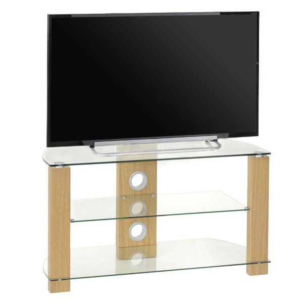 TNW Vision 1050 Light Oak and Clear Glass TV Stand