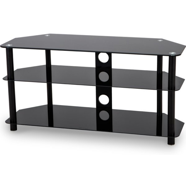 Stealth Mounts 1000mm Black Glass TV Stand for TVs up to 50""