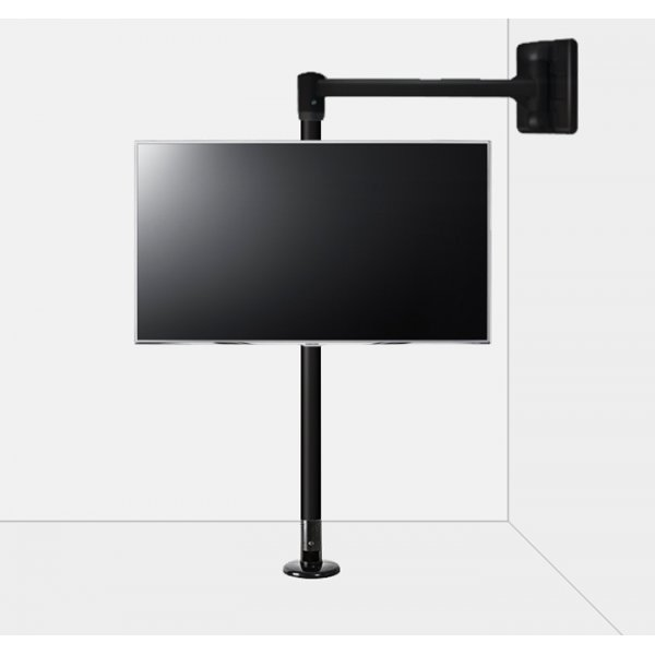 """B-Tech Floor to Wall Swivel Arm Mount for up to 80\"""" TVs - 2m Pole - Black"""