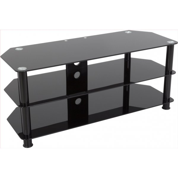 "AVF Universal Black Glass and Black Legs TV Stand For up to 55"" TVs"