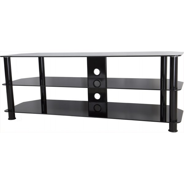 """AVF Universal Black Glass and Black Legs TV Stand For up to 60\"""" TVs"""