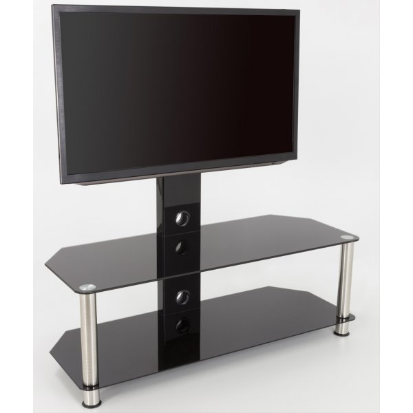 """AVF Universal Black Glass and Chrome Legs Cantilever TV Stand For up to 65\"""" TVs"""