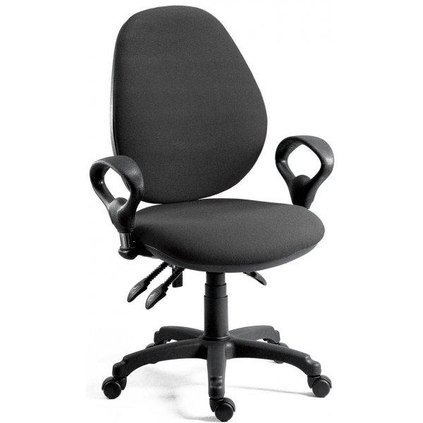 DSK Byron High Syncron High Back Operator Desk Chair - Charcoal