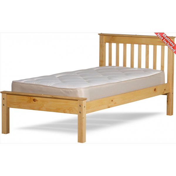 Amani Ennerdale Single Waxed Pine Bed Frame - No drawers