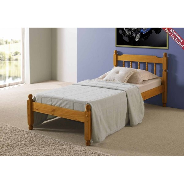Amani Colonial Spindle Honey Pine Bed Frame Single - No Drawers