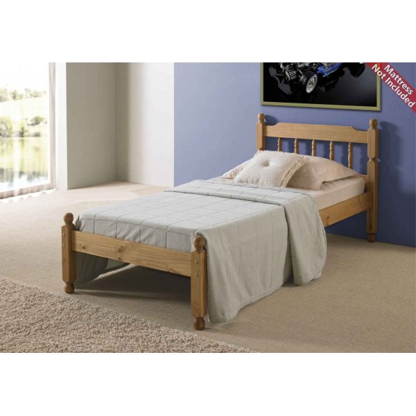 Amani Colonial Spindle Waxed Pine Bed Frame Double - No Drawers