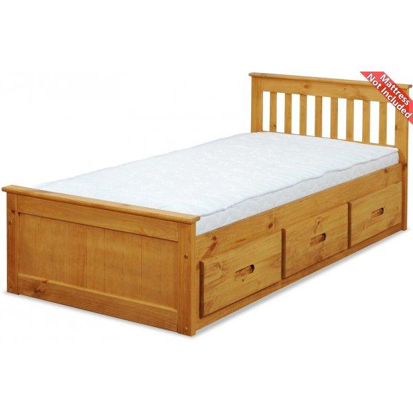 Amani Pine Mission Single Slat Bed With Storage - 3 Drawers