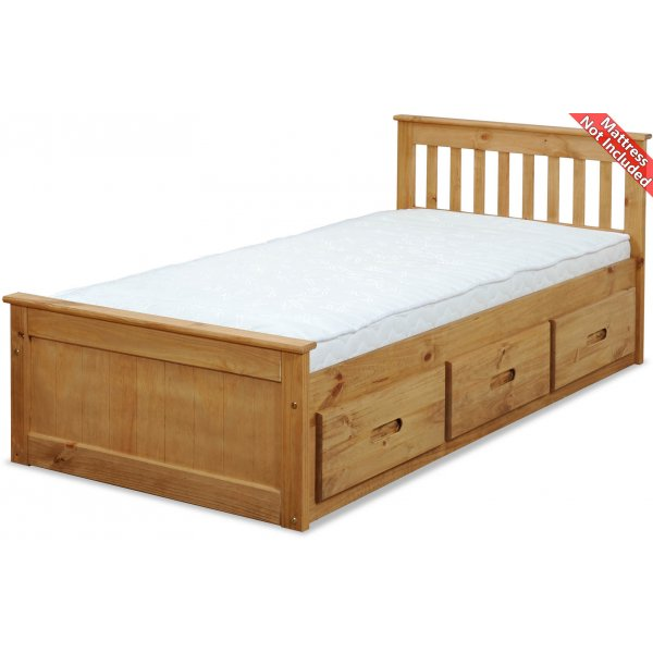 Amani Mission Small Double Bed Frame - 3 Drawers