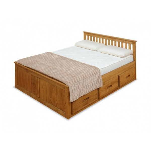 Amani Mission Storage Double Bed Frame - 6 Drawers