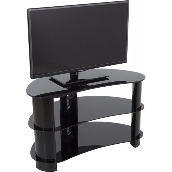 """AVF FS850CURBB Jelly Bean Curved Glass TV Stand For up to 40\"""" TVs - Black Glass & Black Legs"""
