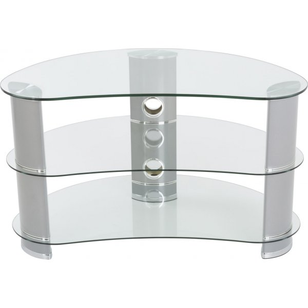 """AVF FS850CURCS Jelly Bean Curved Glass TV Stand For up to 40\"""" TVs - Clear Glass & Silver Legs"""