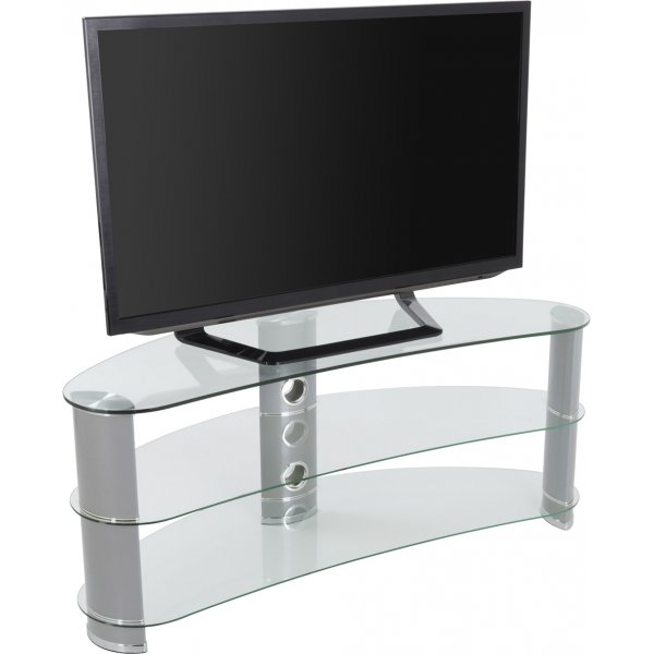 """AVF Curved Glass TV Stand For up to 60\"""" TVs - Clear Glass & Chrome Legs"""