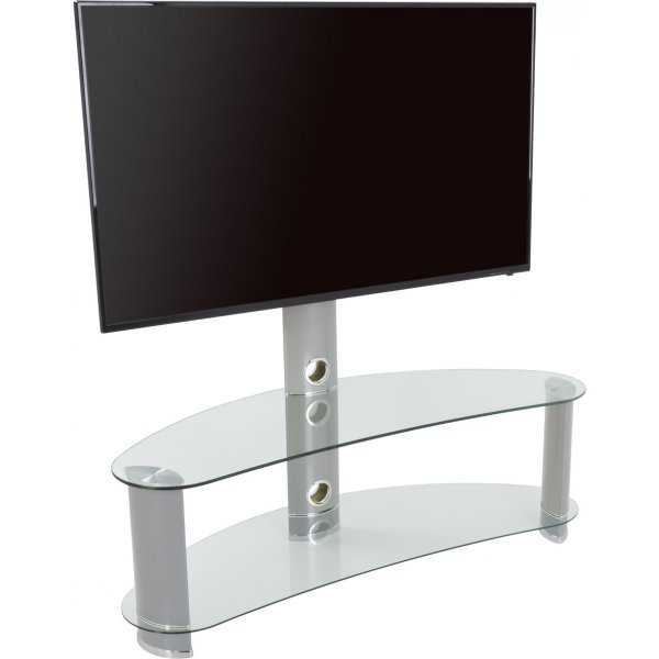 """AVF Curved Cantilever TV Stand For up to 55\"""" TVs - Clear Glass & Chrome Legs"""
