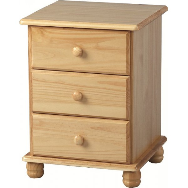 ValuFurniture Sol 3 Drawer Bedside Chest - Antique Pine