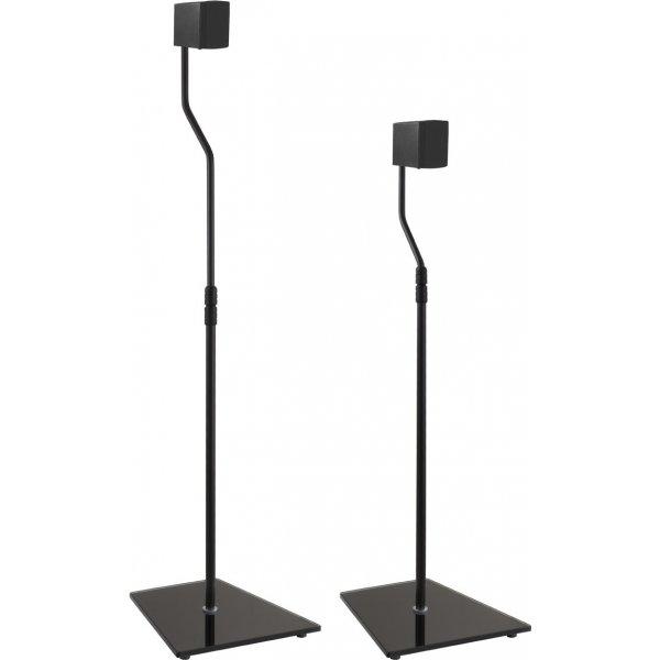 AVF Universal Pair of Speaker Stands with Glass Bases - Black