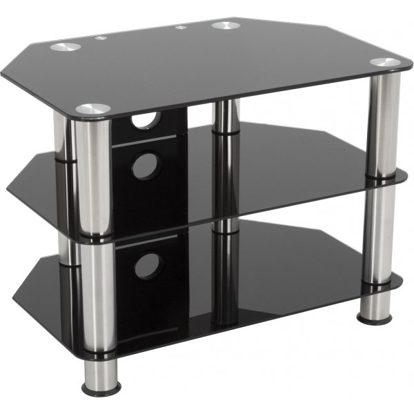 """AVF Universal Black Glass and Chrome Legs TV Stand For up to 40\"""" TVs"""