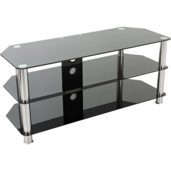"""AVF Universal Black Glass and Chrome Legs TV Stand For up to 50\"""" TVs"""