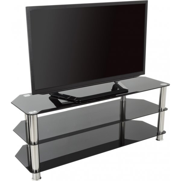 "AVF Universal Black Glass and Chrome Legs TV Stand For up to 60"" TVs"