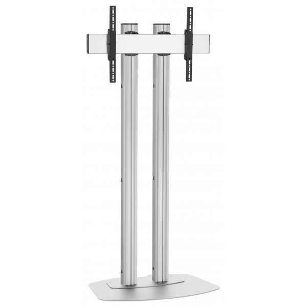 "Vogels FD2084S Double Pole Floor Stand For up to 85"" TVs - 2.0m - Silver"
