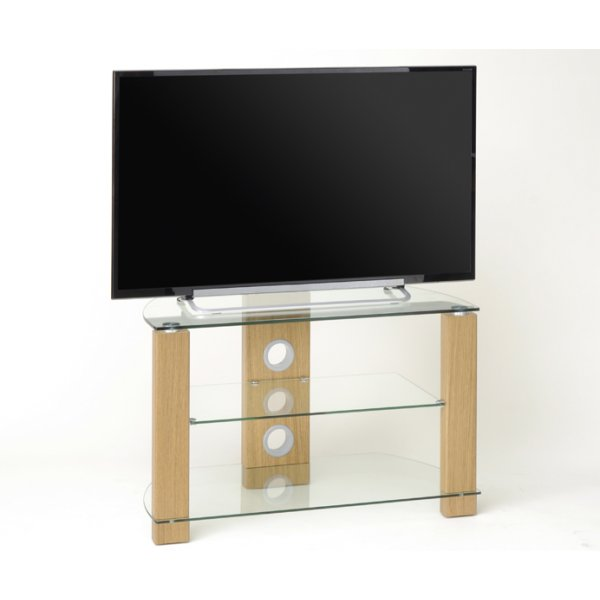 TNW Vision 800 Light Oak and Clear Glass TV Stand