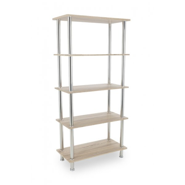 AVF S25OW Tall Five Tier Shelving Unit with Chrome Legs - Whitewashed Oak