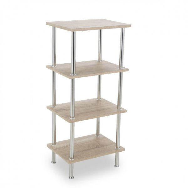 AVF S44WO Small Four Tier Shelving Unit with Chrome Legs - Whitewashed Oak