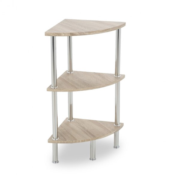 AVF S53WO Corner Three Tier Shelving Unit with Chrome Legs - Whitewashed Oak