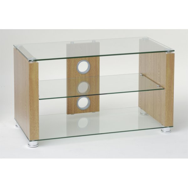 TNW Elegance 800 Oak and Clear Glass TV Stand