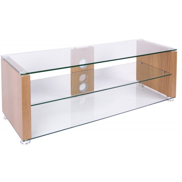 TNW Elegance 1200 Oak and Clear Glass TV Stand