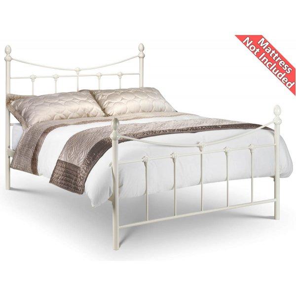 Julian Bowen Double Rebecca Ivory White Bed Frame