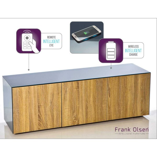 Frank Olsen INTEL1500GRY-OAK Grey and Oak TV Cabinet For TVs Up To 70""