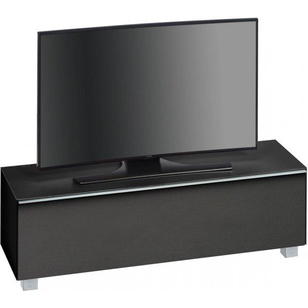 """Maja Black Matt Glass TV Stand for up to 70\"""" TVs"""