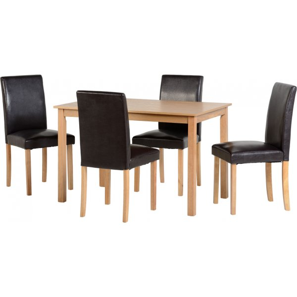 ValuFurniture Ashmere Dining Set in Ash Veneer/Brown Faux Leather