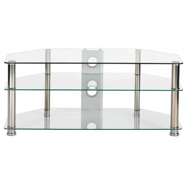 """MMT Rome P5CCH1250 Clear Glass Corner TV Stand for up to 55\"""""""