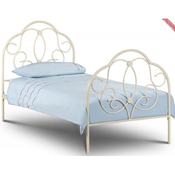 Julian Bowen Arabella Stone White Single Metal Bed 90cm
