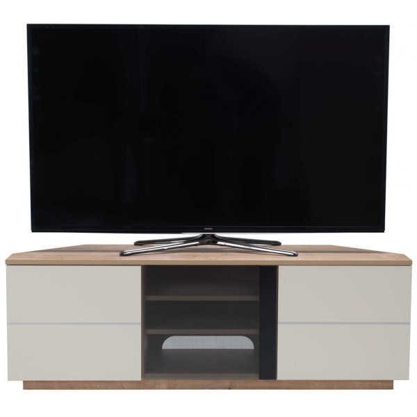 "UK-CF New Milan Oak/Cream TV stand for up to 65"" TVs"