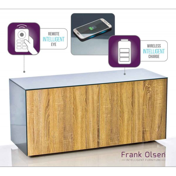 "Frank Olsen INTEL1100GRY-OAK Grey TV Cabinet For TVs Up To 55"" Assembled"
