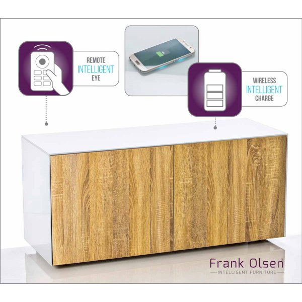 "Frank Olsen INTEL1100WOK White TV Cabinet For TVs Up To 55"" 55\"" Assembled"