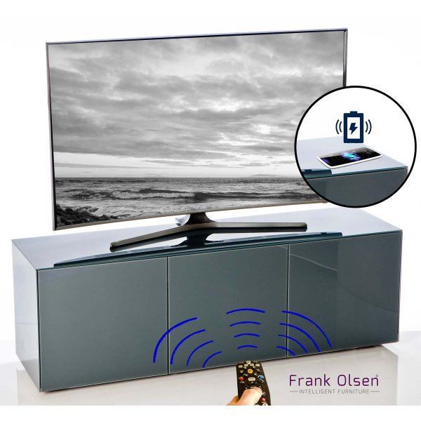 "Frank Olsen INTEL1500GY Grey TV Cabinet For TVs Up To 70"" Assembled"